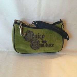 Juicy Couture Handbag, Green and Navy, Velour.